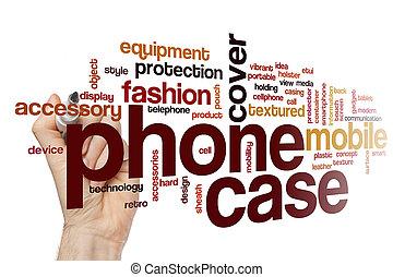 wypadek, telefon, pojęcie, słowo, chmura