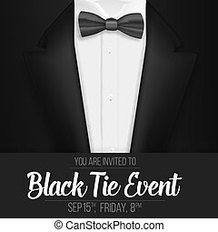 wypadek, zaproszenie, menu, realistyczny, suit., wektor, czarnoskóry dostosowują, krawat, łuk, template.