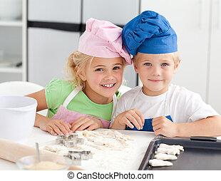 wypiek, godny podziwu, portret, dwa dzieci, kuchnia