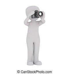 wyposażenie, aparat fotograficzny, 3d, 32, człowiek