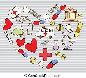 wyposażenie, medyczny, miłość