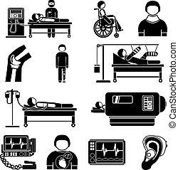 wyposażenie, medyczny, poparcie, życie, ikony
