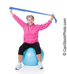 wyposażenie, starsza kobieta, wykonując, rozciąganie