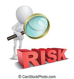 """wypowiedzieć szkło, """"risk"""", oglądając, osoba, powiększający, 3d"""