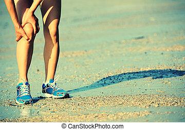 wyrządzony, kolano, lekkoatletyka
