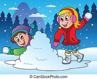 wyrzucanie, dzieciaki, dwa, piłki, śnieg
