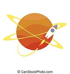 wyrzutnia, ikona, początek, planeta, rakieta, do góry, dookoła