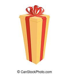 wysoki, box., dar, świąteczny, cielna, ilustracja, wektor, rok, nowy, boże narodzenie
