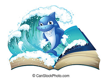 wysoki, cielna, rekin, książka, machać
