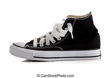 wysoki, czarny szczyt, sneakers, biały