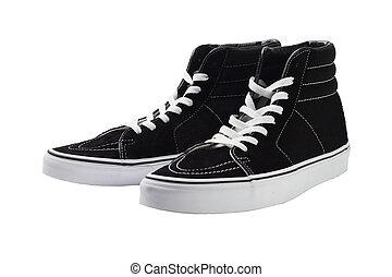 wysoki, czarny szczyt, sneakers, płótno