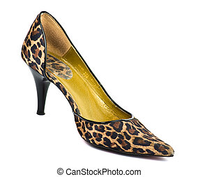wysoki, heeled, lampart, bucik