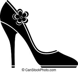 wysoki, obuwie, pięta, (silhouette)