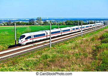 wysoki, otwarty, pociąg, szybkość, powierzchnia