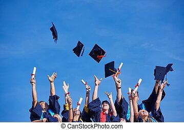 wysoki, studenci, szkoła, absolwenci