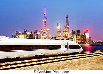 wysoki, szanghaj, szybkość, pociągi