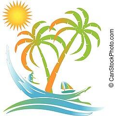wyspa, słoneczny, tropikalny raj, logo, plaża