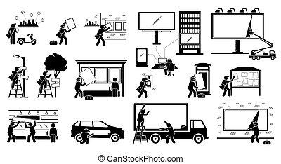 wystawa, marketing., kładzenie, pośrednictwo, do góry, reklama, na wolnym powietrzu