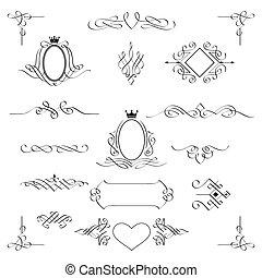 wystawiany zamiar, vector., elements., calligraphic