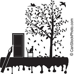 wytrzeszcz, drzewo, ptaszki, kot