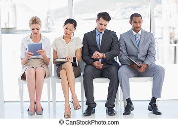 wywiad, ludzie, praca, usługiwanie, handlowe biuro