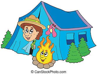 wywiadowca, kemping namiot