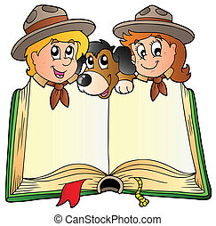 wywiadowcy, książka, pies, otworzony, dwa