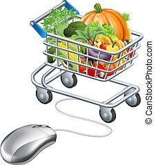 wywrotka, sklep spożywczy, pojęcie, mysz, warzywa