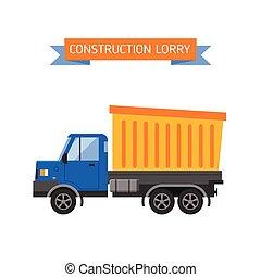 wywrotka, wektor, illustration., przemysł, żółty, zbudowanie, wózek