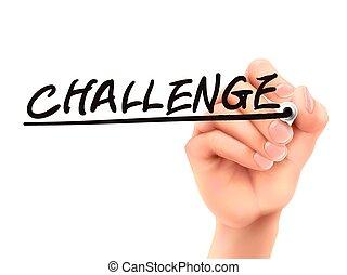 wyzwanie, 3d, słowo, pisemny, ręka