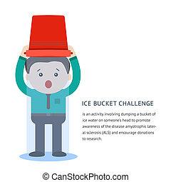 wyzwanie, pojęcie, wiadro, als, lód