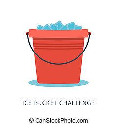 wyzwanie, wiadro, als, lód