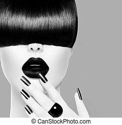 wzór, fason, wysoki, czarnoskóry, portret, dziewczyna, biały