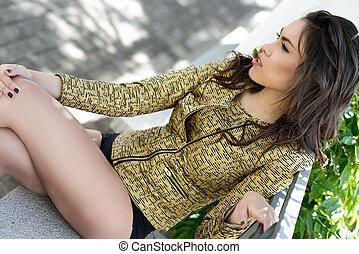 wzór, młoda kobieta, fason, ogród, piękny