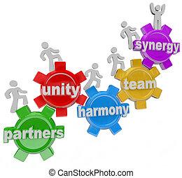 wzmacniacz, pracujący, powodzenie, razem, współdziałanie, teamwork