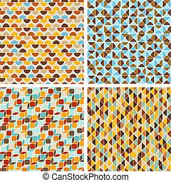 wzory, abstrakcyjny, geometryczny, set., seamless