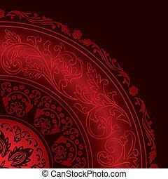 wzory, dekoracyjny, rocznik wina, czerwony, ułożyć, okrągły