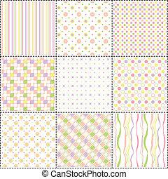 wzory, formułować, komplet, kwiat, pas