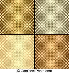 wzory, komplet, seamless, (vector), metaliczny