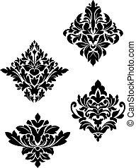 wzory, kwiat, adamaszek
