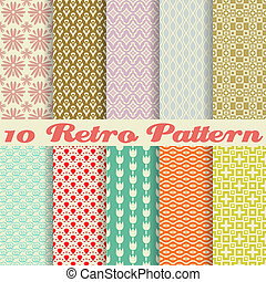 wzory, retro, różny, seamless, (tiling)., wektor