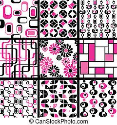 wzory, seamless, zbiór, mod