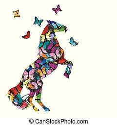 wzorzysty, motyle, koń, ilustracja, barwny