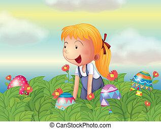 wzrok, jaja, ogród, dziewczyna