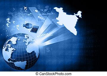 wzrost, indianin, finansowy, ekonomia