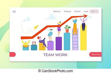 wzrost, strzała, drużyna, illustration., graficzny, finanse, wykres, diagram, powodzenie, wektor, razem, wykres, postęp, teamwork, utrzymywać, lokata