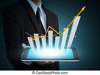 wzrost, technologia, wykres, tabliczka