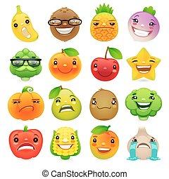 wzruszenia, warzywa, set2, rysunek, różny, zabawny, owoce