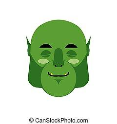 wzruszenie, chochlik, ludożerca, emoji., isolated., spanie, uśpiony, zielona twarz, potwór