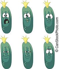 wzruszenie, komplet, warzywa, zielony, 006, ogórek, rysunek